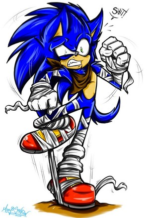 Sonic's gonna trip on his sports tape""