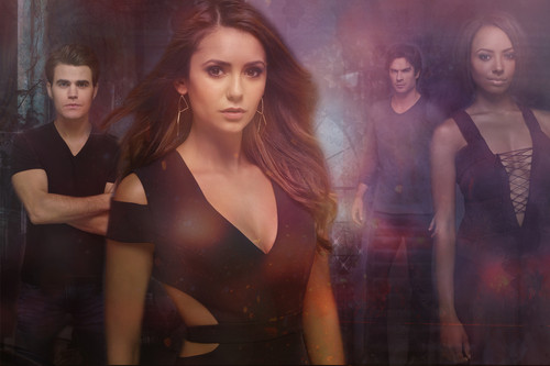 The Vampire Diaries wolpeyper containing a bustier entitled Stefan, Elena, Damon and Bonnie season 6