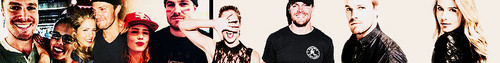 Stephen Amell & Emily Bett Rickards चित्र possibly with a रंग, लेपनी called Stephen Amell and Emily Bett Rickards Spot Banner