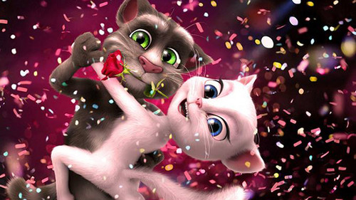 カートゥーン 壁紙 titled Talking Tom and Angela.