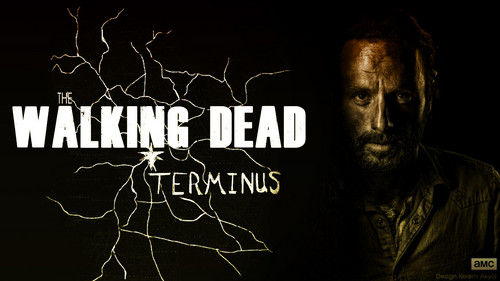 Andrew 링컨 바탕화면 probably containing a sign entitled The Walking Dead Terminus 바탕화면