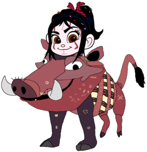 Vanellope dressed as Pumbaa 1 (Recreated)
