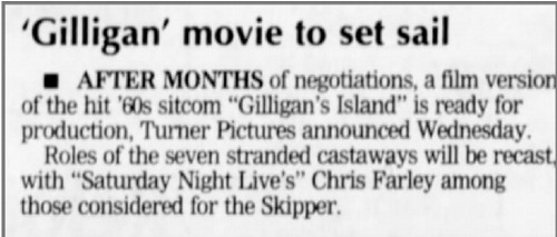 gilligan's island movie starring chris and adam sandler {but never made}