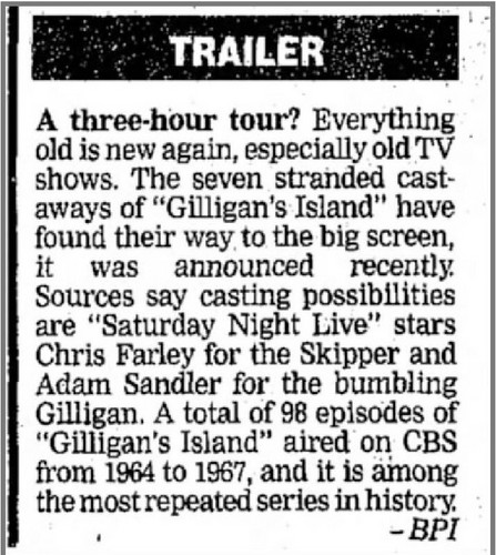 Adam Sandler پیپر وال titled gilligan's island movie starring chris farley and adam sandler {but never made}