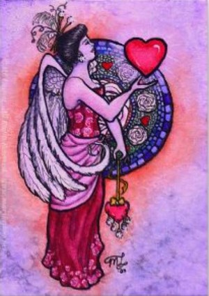 lady wings and heart