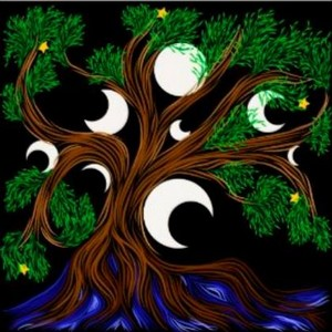 tree and moons