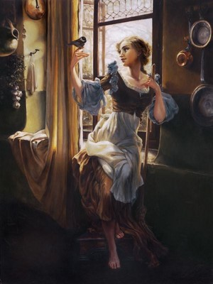 """Cinderella's New Day"" - Cinderella Oil Painting"