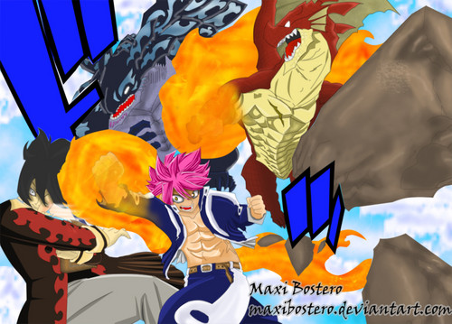 fairy tail fondo de pantalla possibly containing anime titled *Igneel v/s Acnologia : Natsu v/s Mard Guille*