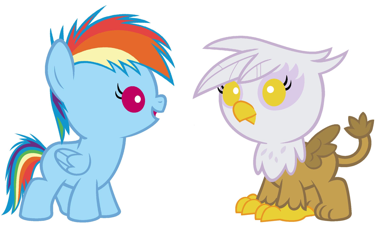 Baby Rainbow Dash and Gilda
