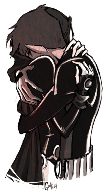 Beast Boy and Raven hug