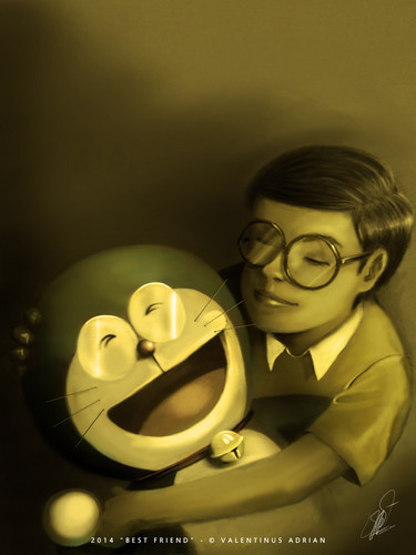 Doraemon karatasi la kupamba ukuta possibly with a turntable, zungushwa pande mbalimbali titled Best Friend