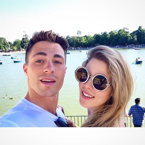 Emily Bett Rickards fond d'écran possibly containing sunglasses and a portrait entitled Colton Haynes and Emily Bett