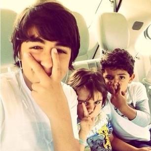 Cris Junior with his cousins