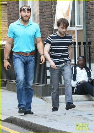 Daniel Radcliffe With His Bodyguard (October 3) In London,Eng (Fb.com/DanielJacobRadcliffeFanClub)