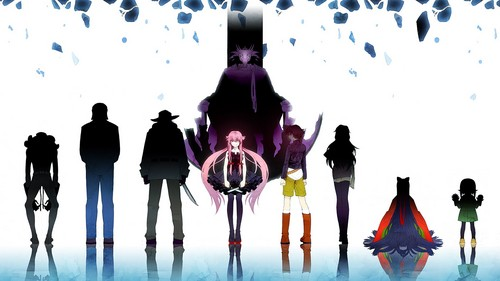 mirai nikki wallpaper probably with a street titled Diary Owners