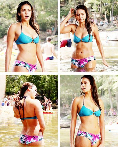 The Vampire Diaries wallpaper containing a bikini, bikini pants, and a g string entitled Elena Gilbert Hot Body Appeciation