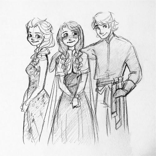 ফ্রোজেন দেওয়ালপত্র with জীবন্ত titled Elsa, Anna and Kristoff