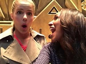 Emily and Candice on set