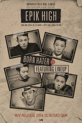 Epik High Обои containing Аниме entitled Epik High's 'Born Hater' featuring Beenzino, Bobby, Verbal Jint, Winner's Mino, and B.I