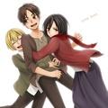 Eren Armin and Mikasa