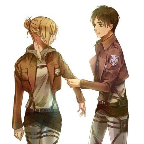 Shingeki no Kyojin (Attack on titan) wallpaper probably containing a green beret entitled Eren and Annie