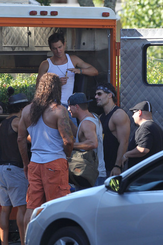Matt Bomer Hintergrund probably containing a street, a carriageway, and an automobile titled Filming MAGIC MIKE XXL, 01.10.2014