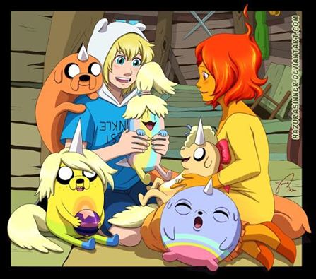 Finn and Flame with Jake's bebés