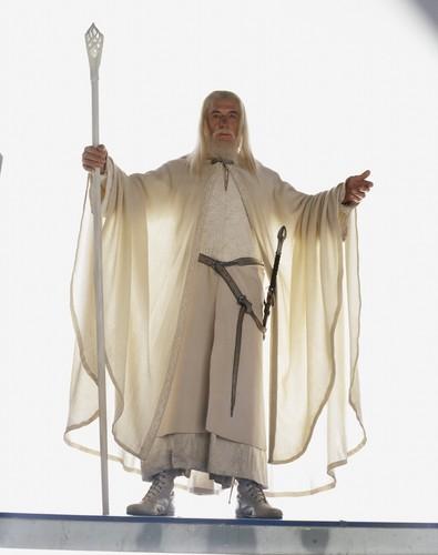 द लॉर्ड ऑफ द रिंग्स वॉलपेपर probably with a बरसती, लबादा called Gandalf lotr