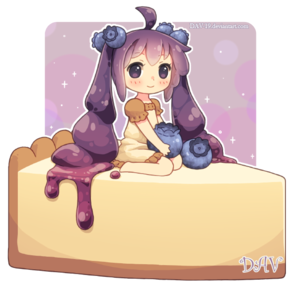 Girl sitting on some kind of cheesecake??