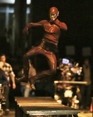 Grant Gustin on set of Flash/Arrow Crossover