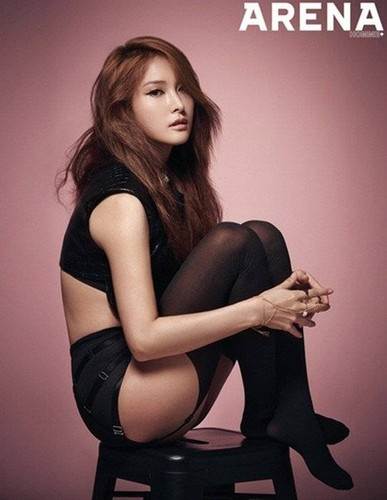 KARA 바탕화면 containing bare legs, hosiery, and tights entitled Gyuri for 'Arena Homme Plus'