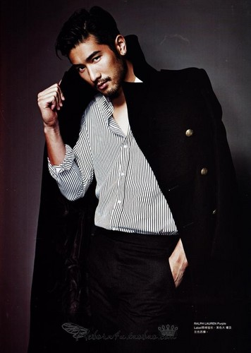 Godfrey Gao wallpaper probably containing a well dressed person and an outerwear called Harper's Bazaar HK [October]