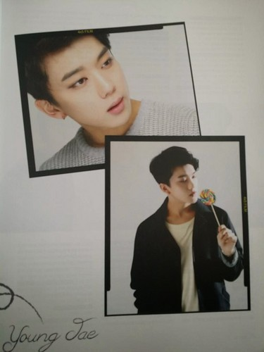 Youngjae Hintergrund probably containing a sign and a portrait called Himchan