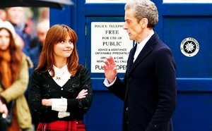 Jenna Coleman on set of Doctor Who with Peter Capaldi