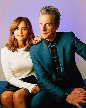 Jenna Coleman with Peter Capaldi on foto shoot