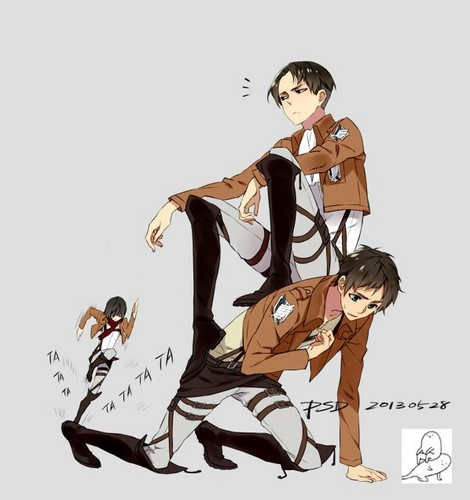 Shingeki no Kyojin (Attack on titan) wallpaper possibly containing a well dressed person entitled Levi/Mikasa/Eren
