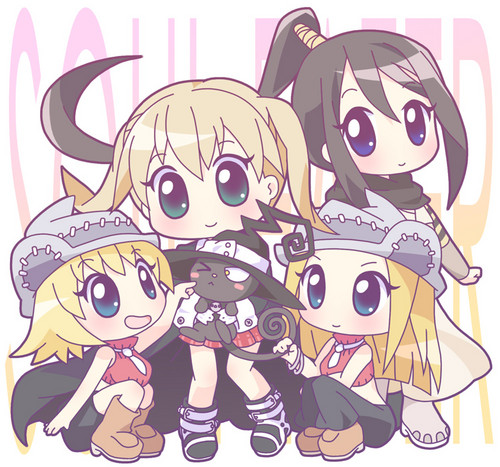 Liz and Patty Thompson wallpaper containing animê entitled Liz, Patty, Maka, Tsubaki, and Blair