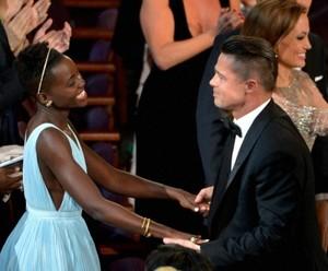 Lupita Nyong'o and Brad Pitt Oscars