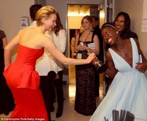 Lupita Nyong'o and Jennifer Lawrence Oscars