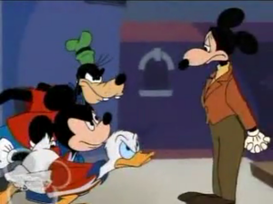 Mickey, Donald and Goofy angry at Mortimer