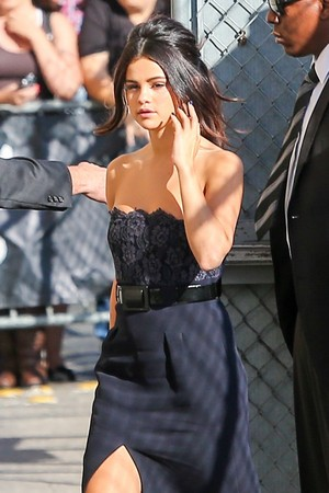 October 15: Selena entering Jimmy Kimmel Live in Los Angeles, California.