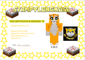 Oscar age 11 I Amore watching Stampy's Minecraft let's play videos!!!!