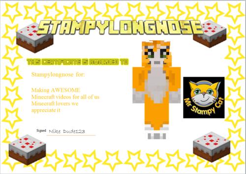 Stampylongnose Hintergrund entitled Oscar age 11 I Liebe watching Stampy's Minecrat let's play videos!!!!