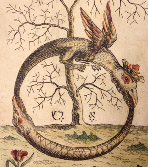 Ouroboros (Tail-swallowing serpent symbolizing all time and eternity), c. 1760.