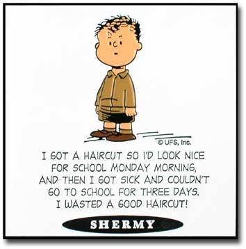 Peanuts nukuu - Shermy