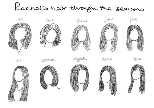 Ross and Rachel wallpaper titled Rachel's hair through the seasons