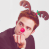 Robert Pattinson litrato probably containing a portrait titled Robert the red nose reindeer
