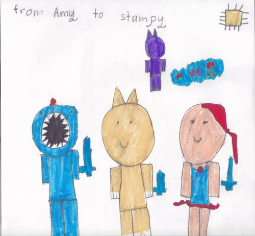 Stampylongnose wallpaper possibly containing a spatula titled Stampy and Friends by Amy age 6