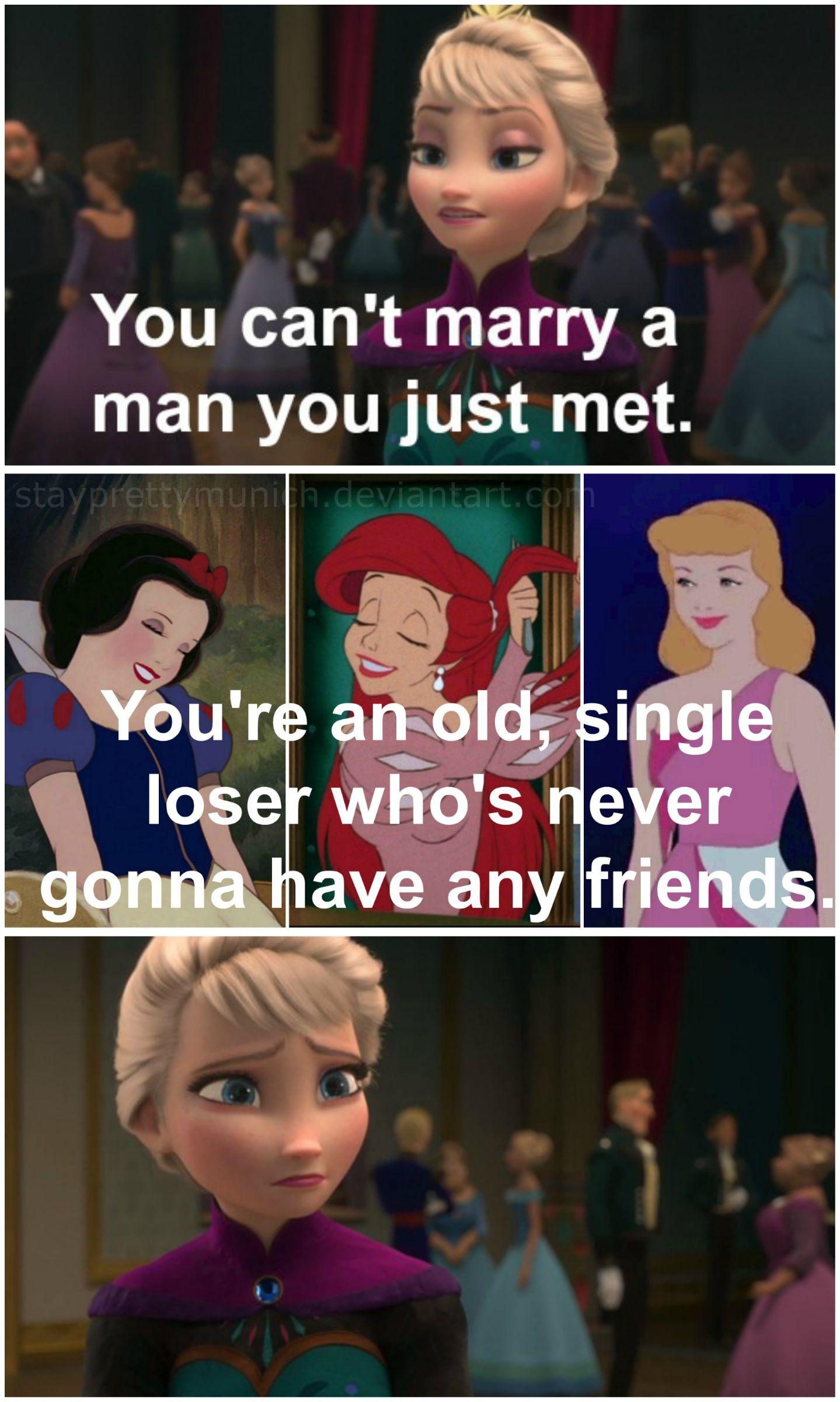 The Disney Princesses throw Elsa some shade