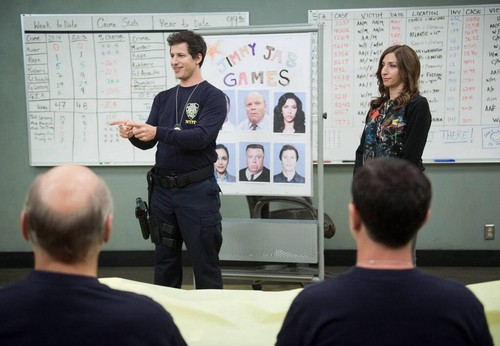 Brooklyn Nine-Nine پیپر وال containing a sign entitled The Jimmy Jab Games